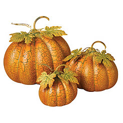 Crackled Metal Nesting Pumpkins, Set of 3