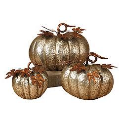 Hammered Metal Nesting Pumpkins, Set of 3