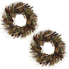 Woodland Harvest Wreaths, Set of 2
