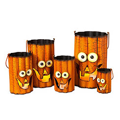 Wavy Metal Pumpkin Luminaries, Set of 5
