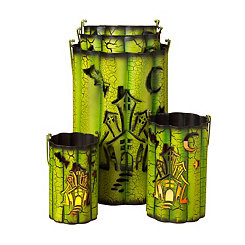 Wavy Metal Haunted House Luminaries, Set of 5