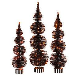 Orange Pre-Lit Bottle Brush Trees, Set of 3