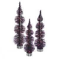 Purple Pre-Lit Bottle Brush Trees, Set of 3