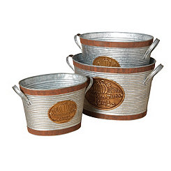 Pumpkin Patch Farms Galvanized Buckets, Set of 3