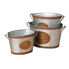 Pumpkin Patch Farms Galvanized Buckets, Set of 3