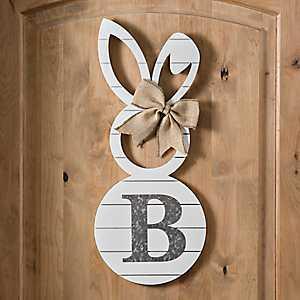 White Galvanized Monogram B Bunny Plaque