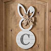 White Galvanized Monogram C Bunny Plaque