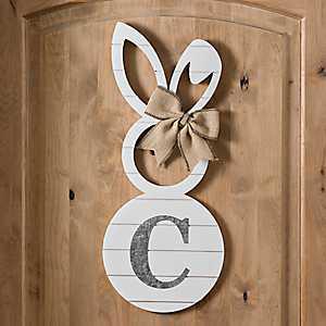 White Galvanized Monogram C Bunny Plaque