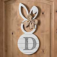 White Galvanized Monogram D Bunny Plaque
