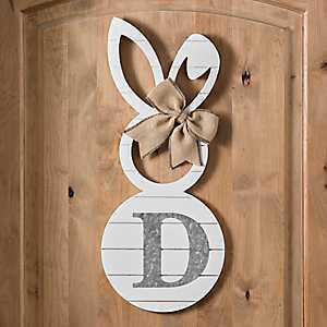 White Galvanized Monogram D Bunny Plaque