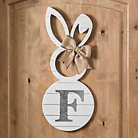 White Galvanized Monogram F Bunny Plaque