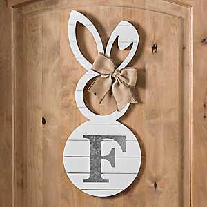 White Galvanized Monogram F Bunny Plaque