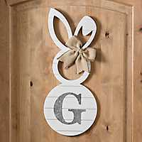 White Galvanized Monogram G Bunny Plaque