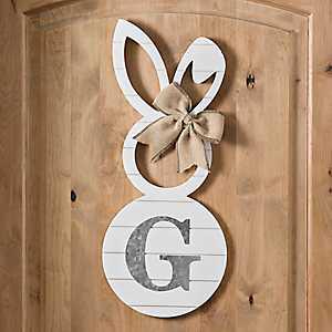White Galvanized Monogram G Bunny Plaque