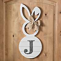 White Galvanized Monogram J Bunny Plaque