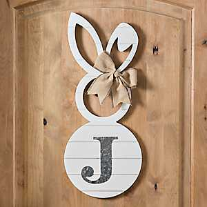 White Galvanized Monogram J Bunny Plaque