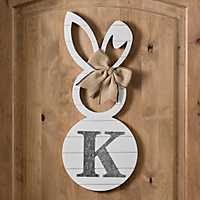 White Galvanized Monogram K Bunny Plaque