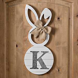White Galvanized Monogram K Bunny Plaque