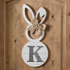 White Galvanized Monogram Bunny Plaques