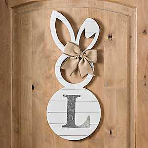 White Galvanized Monogram L Bunny Plaque