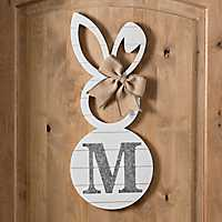 White Galvanized Monogram M Bunny Plaque