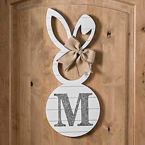 White Galvanized Monogram M Bunny Plaque
