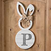 White Galvanized Monogram P Bunny Plaque