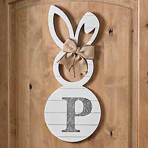 White Galvanized Monogram P Bunny Plaque