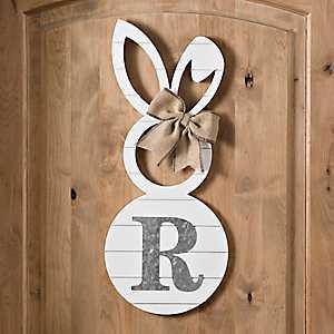 White Galvanized Monogram R Bunny Plaque