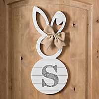 White Galvanized Monogram S Bunny Plaque