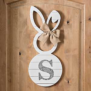 White Galvanized Monogram S Bunny Plaque