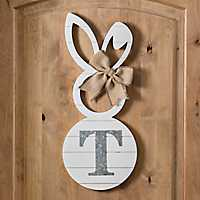 White Galvanized Monogram T Bunny Plaque