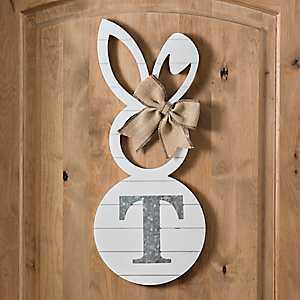 White Galvanized Monogram T Bunny Plaque