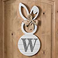 White Galvanized Monogram W Bunny Plaque