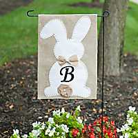 Easter Bunny Monogram B Flag Set with Bow and Tail