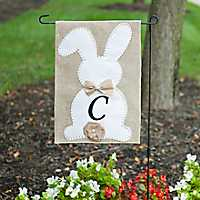 Easter Bunny Monogram C Flag Set with Bow and Tail