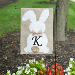Easter Bunny Monogram Flag Sets with Bow and Tail
