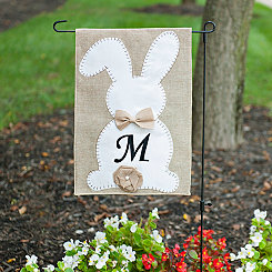 Easter Bunny Monogram M Flag Set with Bow and Tail