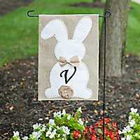 Easter Bunny Monogram V Flag Set with Bow and Tail