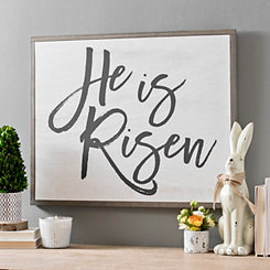 He is Risen Script Board Wall Plaque