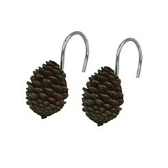 Pine Cone Shower Curtain Hooks, Set of 12