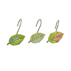 Waterfall Leaves Shower Curtain Hooks, Set of 12
