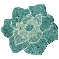 Teal Cotton Flower Bath Mat