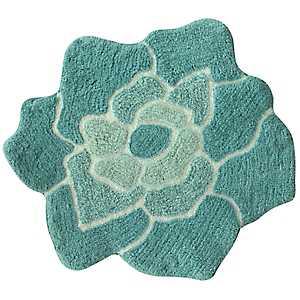 Teal Cotton Flower Bath Mat