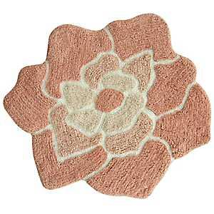 Pink Cotton Flower Bath Mat