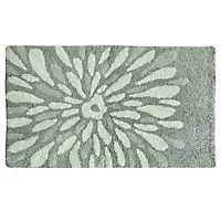 Gray Flower Power Cotton Bath Mat