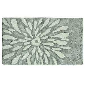 Gray Flower Power Cotton Bath Mat