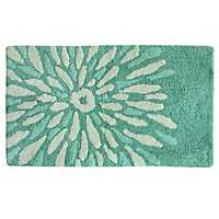 Teal Flower Power Cotton Bath Mat