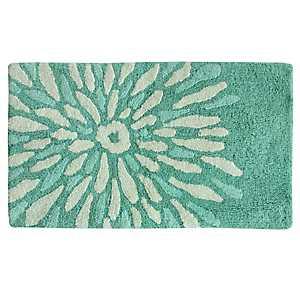 Teal Flower Power Cotton Bath Mat