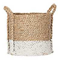 Two-Tone Seagrass Braided Basket, 17 in.